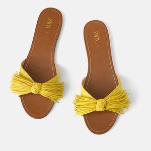 Zara Flat Sandals With Fringe